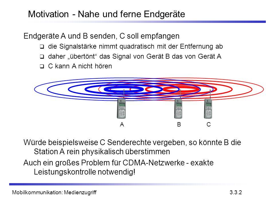 Mobilkommunikation: Medienzugriff Endgeräte A und B senden, C soll empfangen die Signalstärke nimmt quadratisch mit der Entfernung ab daher übertönt d
