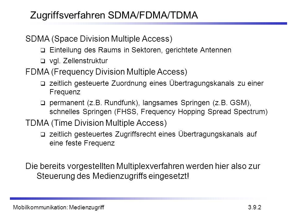 Mobilkommunikation: Medienzugriff3.9.2 Zugriffsverfahren SDMA/FDMA/TDMA SDMA (Space Division Multiple Access) Einteilung des Raums in Sektoren, gerich