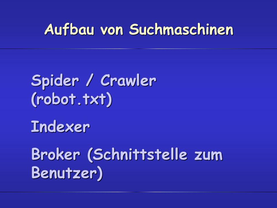 Aufbau von Suchmaschinen Spider / Crawler (robot.txt) Indexer Broker (Schnittstelle zum Benutzer)