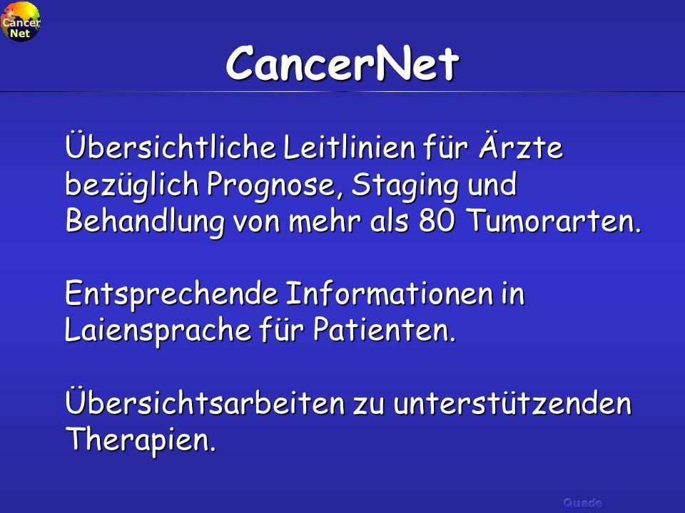 CancerNet Übersichtliche Leitlinien für Ärzte bezüglich Prognose, Staging und Behandlung von mehr als 80 Tumorarten. Entsprechende Informationen in La