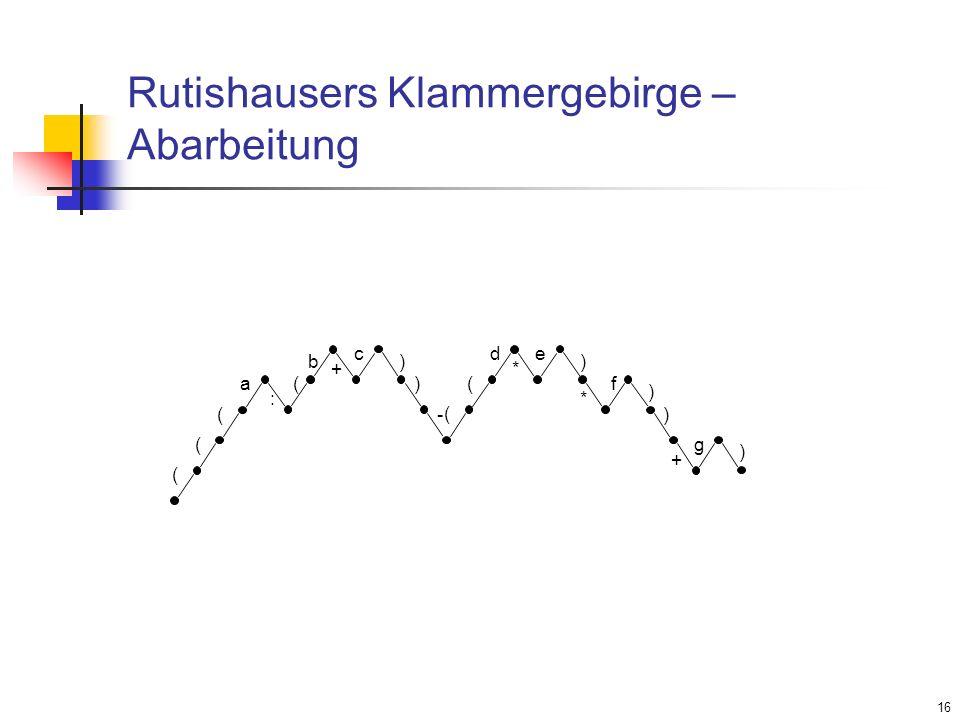 16 Rutishausers Klammergebirge – Abarbeitung ( ( ( a : ( c b + ) ) - ( ( d e * ) ) ) + g ) * f