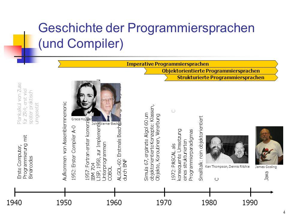 4 Geschichte der Programmiersprachen (und Compiler) 1940 Erste Computer, Programmierung mit Binärcodes 19501960197019801990 Aufkommen von Assemblermne