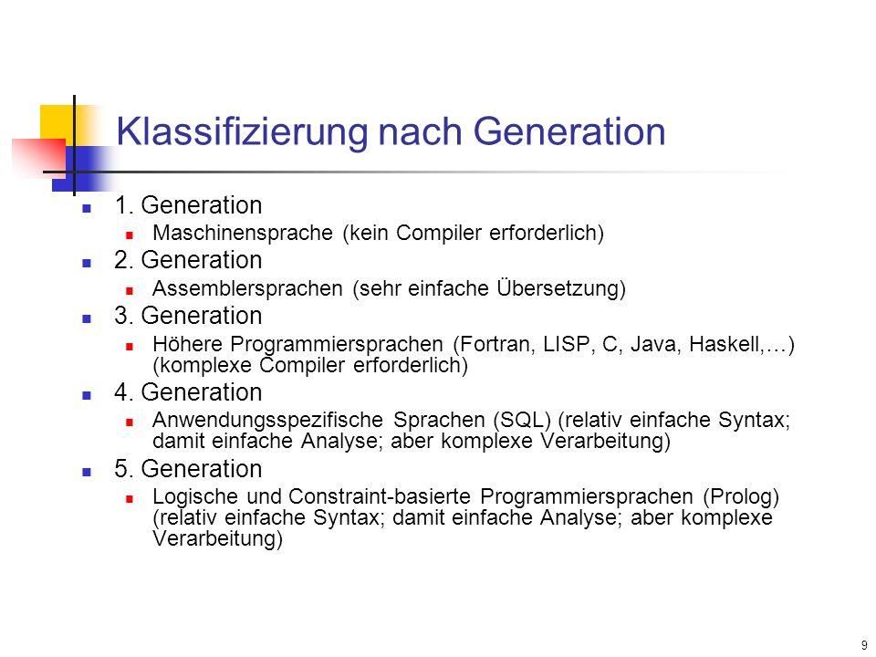 9 Klassifizierung nach Generation 1. Generation Maschinensprache (kein Compiler erforderlich) 2. Generation Assemblersprachen (sehr einfache Übersetzu
