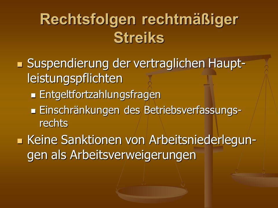 Rechtsfolgen rechtmäßiger Streiks Suspendierung der vertraglichen Haupt- leistungspflichten Suspendierung der vertraglichen Haupt- leistungspflichten