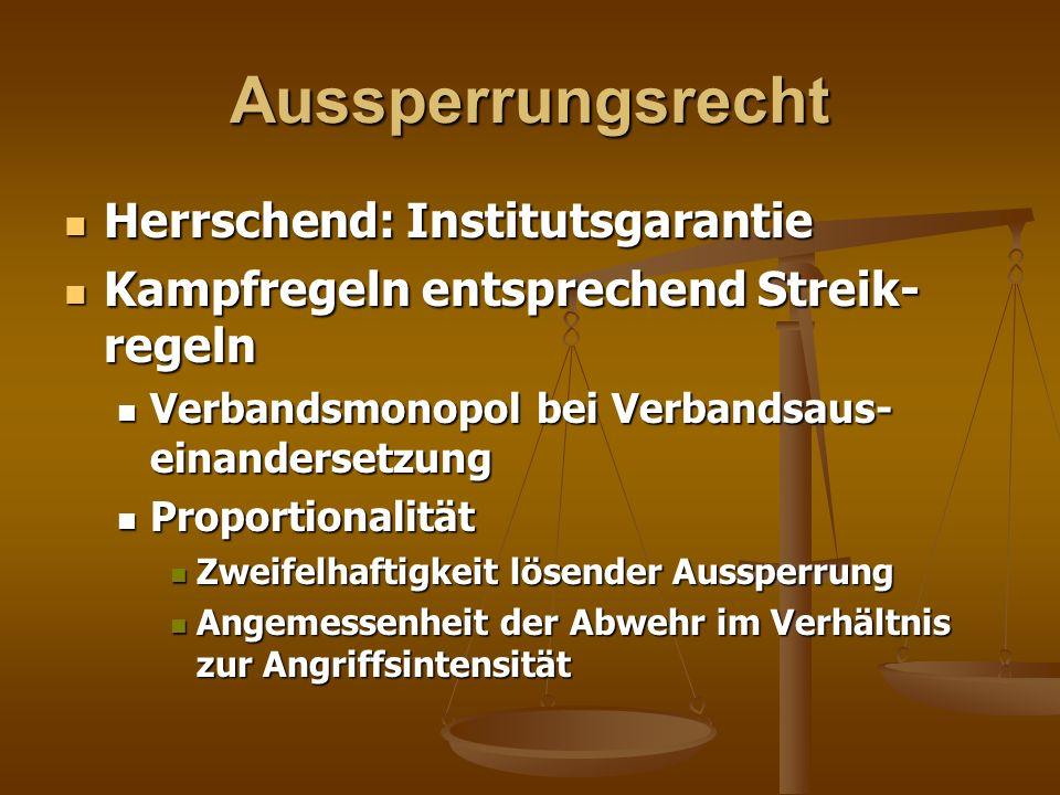 Aussperrungsrecht Herrschend: Institutsgarantie Herrschend: Institutsgarantie Kampfregeln entsprechend Streik- regeln Kampfregeln entsprechend Streik-