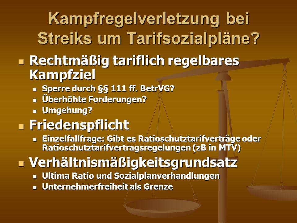 Kampfregelverletzung bei Streiks um Tarifsozialpläne? Rechtmäßig tariflich regelbares Kampfziel Rechtmäßig tariflich regelbares Kampfziel Sperre durch