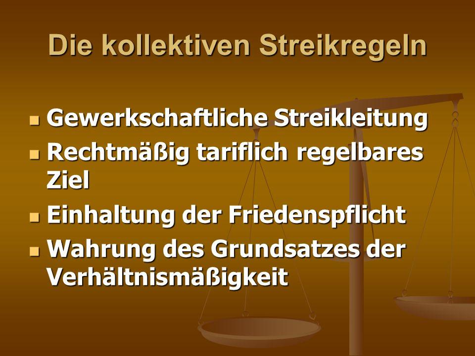 Die kollektiven Streikregeln Gewerkschaftliche Streikleitung Gewerkschaftliche Streikleitung Rechtmäßig tariflich regelbares Ziel Rechtmäßig tariflich
