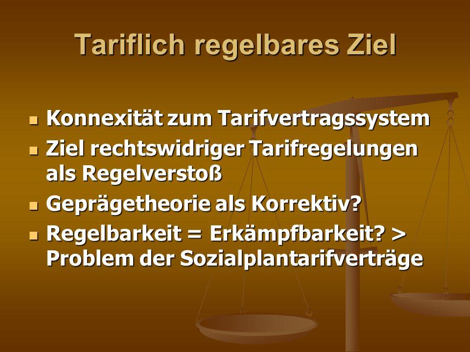 Tariflich regelbares Ziel Konnexität zum Tarifvertragssystem Konnexität zum Tarifvertragssystem Ziel rechtswidriger Tarifregelungen als Regelverstoß Z
