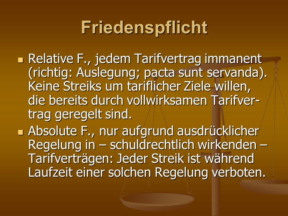 Friedenspflicht Relative F., jedem Tarifvertrag immanent (richtig: Auslegung; pacta sunt servanda). Keine Streiks um tariflicher Ziele willen, die ber
