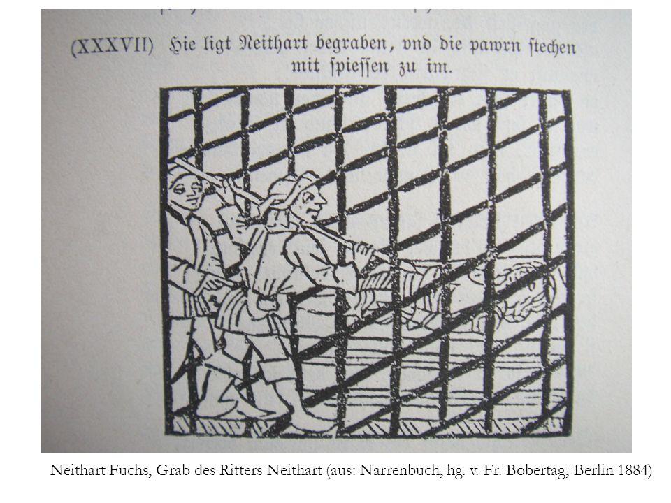 Neithart Fuchs, Grab des Ritters Neithart (aus: Narrenbuch, hg. v. Fr. Bobertag, Berlin 1884)