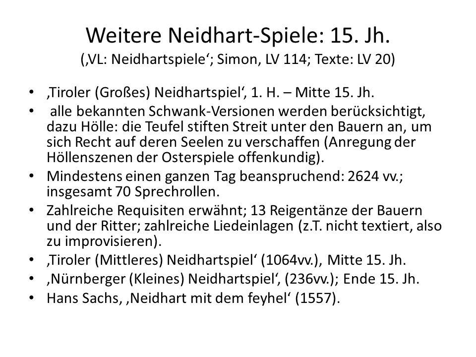 Weitere Neidhart-Spiele: 15. Jh. (VL: Neidhartspiele; Simon, LV 114; Texte: LV 20) Tiroler (Großes) Neidhartspiel, 1. H. – Mitte 15. Jh. alle bekannte