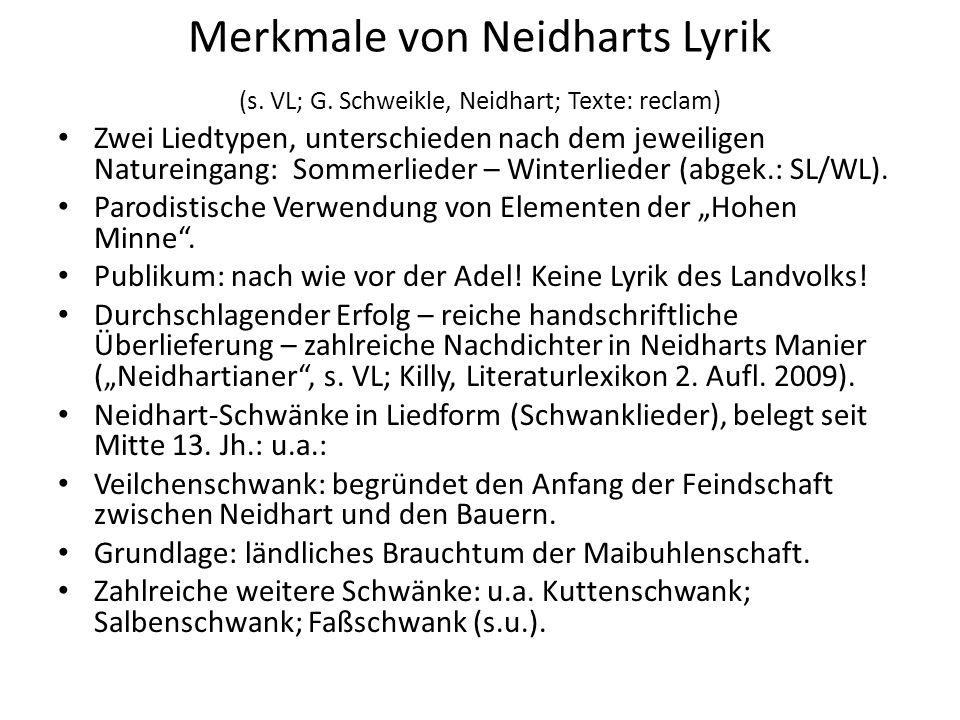 Merkmale von Neidharts Lyrik (s. VL; G. Schweikle, Neidhart; Texte: reclam) Zwei Liedtypen, unterschieden nach dem jeweiligen Natureingang: Sommerlied