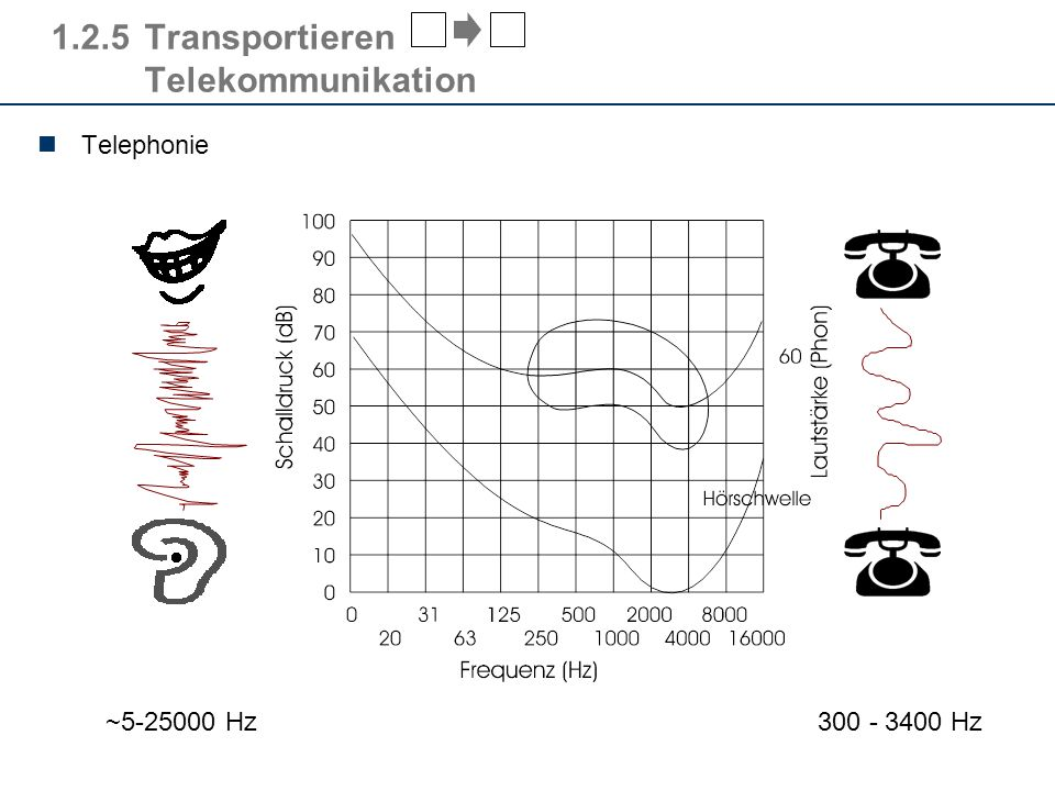 1.2.5Transportieren Telekommunikation Telephonie 300 - 3400 Hz ~5-25000 Hz