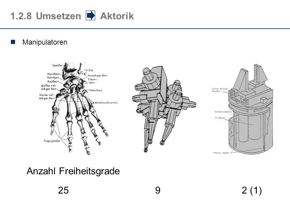1.2.8Umsetzen Aktorik Manipulatoren Anzahl Freiheitsgrade 252 (1)9