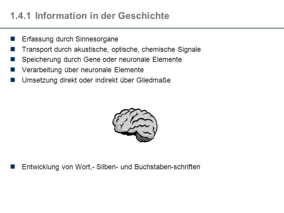 1.4.1Information in der Geschichte Erfassung durch Sinnesorgane Transport durch akustische, optische, chemische Signale Speicherung durch Gene oder ne