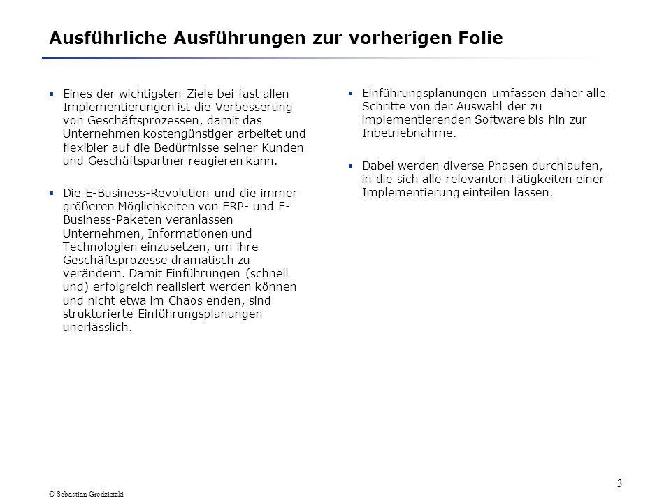 © Sebastian Grodzietzki 2 1. Einführungsplanung von ERP-Systemen und E-Business- Lösungen 1.1 Einführungsplanung: Wozu? Und was ist das überhaupt? Auf