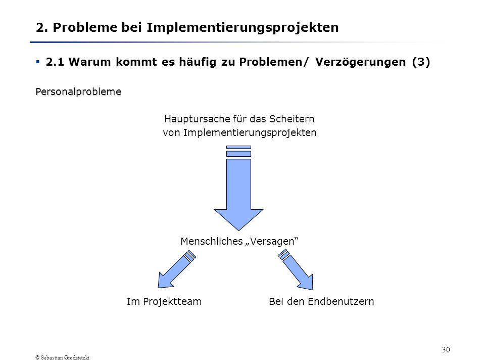 © Sebastian Grodzietzki 29 Widerstand und Sabotage Da Implementierungsprojekte oft große Veränderungen in Unternehmen erzeugen liegt es nahe, dass ein