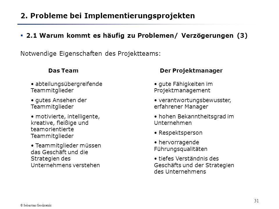 © Sebastian Grodzietzki 30 2. Probleme bei Implementierungsprojekten 2.1 Warum kommt es häufig zu Problemen/ Verzögerungen (3)Personalprobleme Hauptur