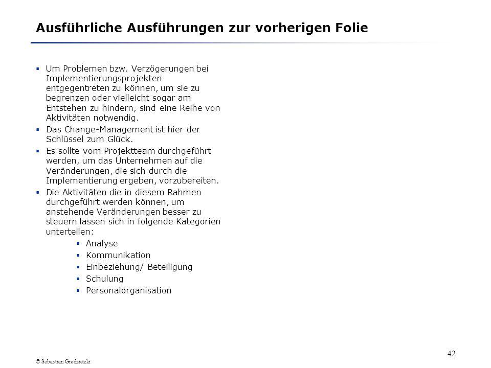 © Sebastian Grodzietzki 41 2. Probleme bei Implementierungsprojekten 2.2 Wie lassen sich Probleme/ Verzögerungen verhindern (1) Um Problemen bzw. Verz