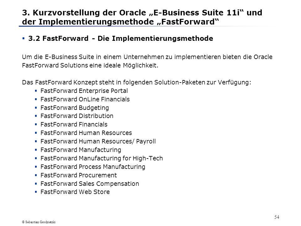 © Sebastian Grodzietzki 53 Ausführliche Ausführungen zur vorherigen Folie Die E-Business Suite ist ein System, mit dem ein Unternehmen seine komplette