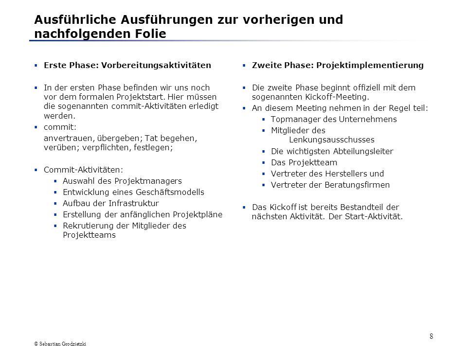 © Sebastian Grodzietzki 18 1.3 Beschreibung einzelner Phasen (8)Support-Aktivitäten Die Aufgaben, die zu den Support-Aktivitäten zählen sind zumeist von der Hauseigenen DV-Abteilung bzw.