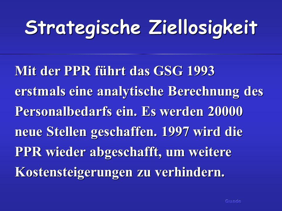 Strategische Ziellosigkeit Mit der PPR führt das GSG 1993 erstmals eine analytische Berechnung des Personalbedarfs ein. Es werden 20000 neue Stellen g