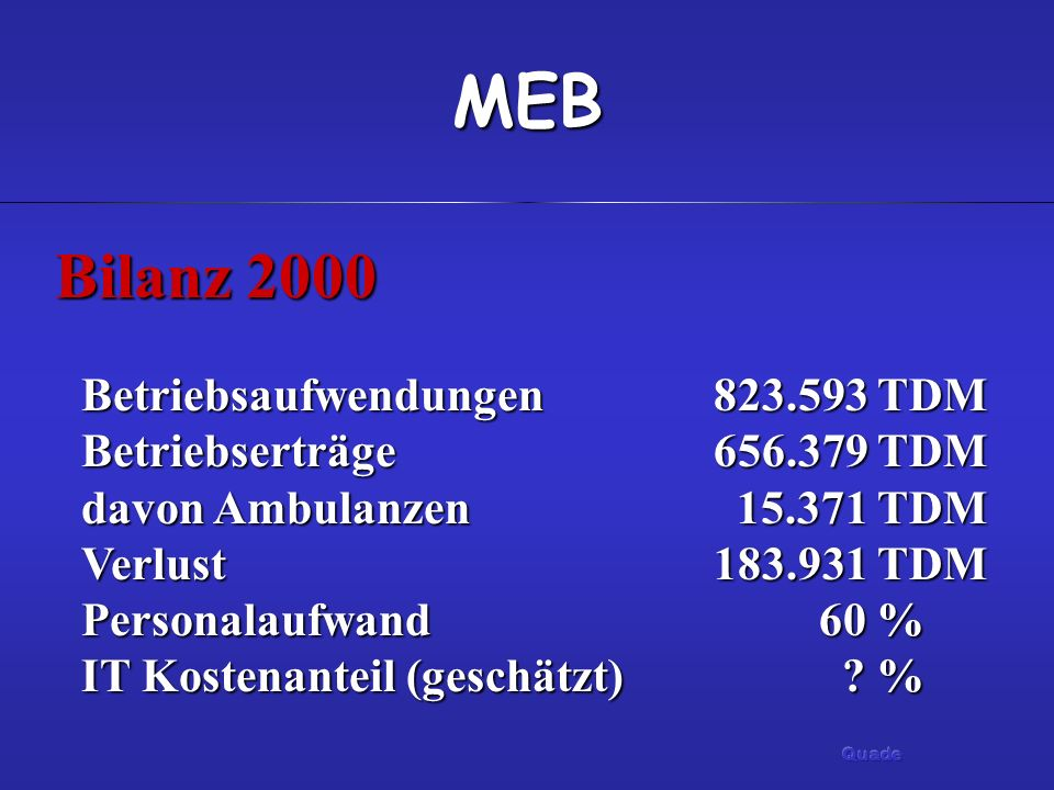 MEB Bilanz 2000 Betriebsaufwendungen823.593 TDM Betriebserträge 656.379 TDM davon Ambulanzen 15.371 TDM Verlust183.931 TDM Personalaufwand60 % IT Kostenanteil (geschätzt) .