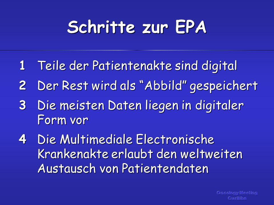 Teile der Patientenakte sind digital Der Rest wird als Abbild gespeichert Die meisten Daten liegen in digitaler Form vor Die Multimediale Electronische Krankenakte erlaubt den weltweiten Austausch von Patientendaten Schritte zur EPA 1234