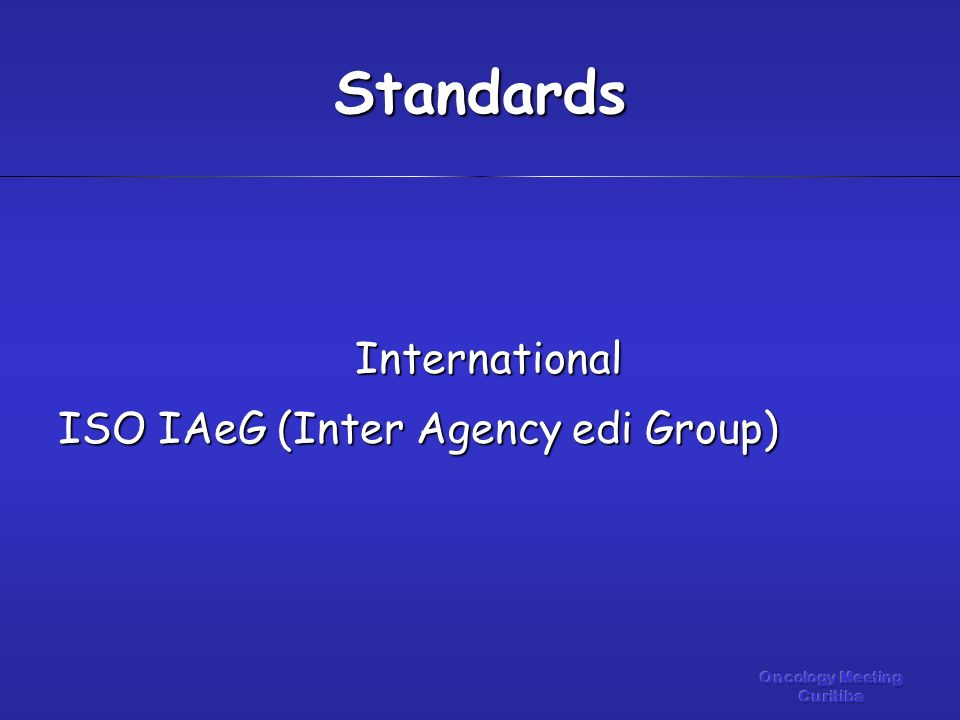 International ISO IAeG (Inter Agency edi Group) Standards