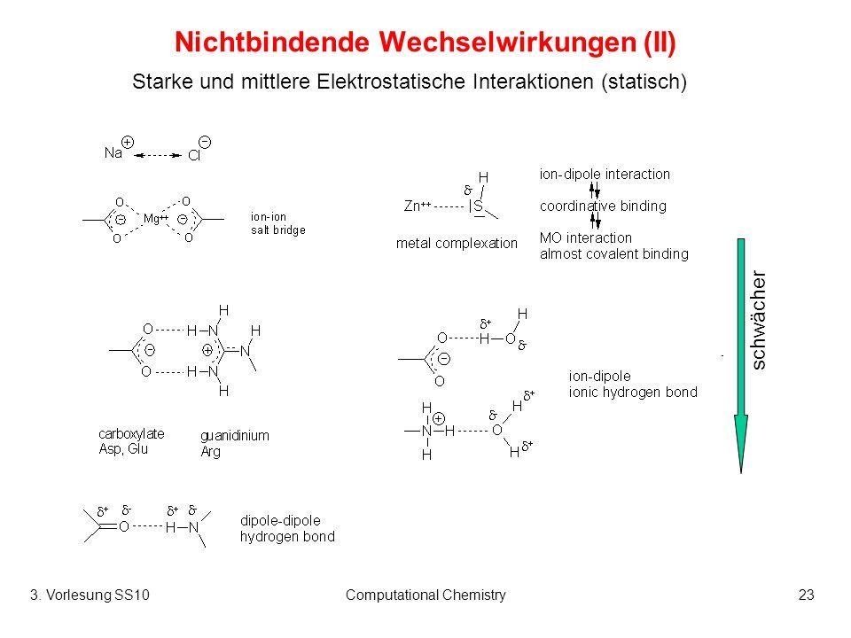 3. Vorlesung SS10Computational Chemistry23 Nichtbindende Wechselwirkungen (II) Starke und mittlere Elektrostatische Interaktionen (statisch) schwächer