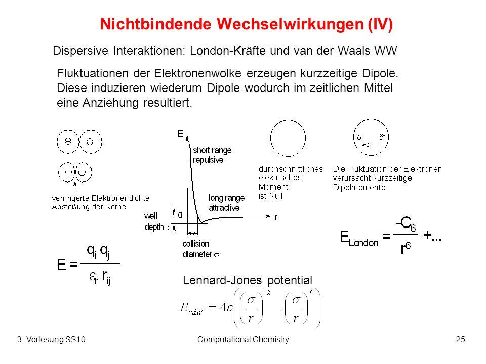 3. Vorlesung SS10Computational Chemistry25 Nichtbindende Wechselwirkungen (IV) Dispersive Interaktionen: London-Kräfte und van der Waals WW Lennard-Jo