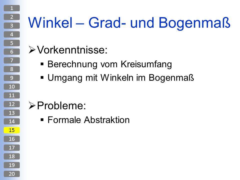 Winkel – Grad- und Bogenmaß Vorkenntnisse: Berechnung vom Kreisumfang Umgang mit Winkeln im Bogenmaß Probleme: Formale Abstraktion 1 2 3 4 5 6 7 8 9 1