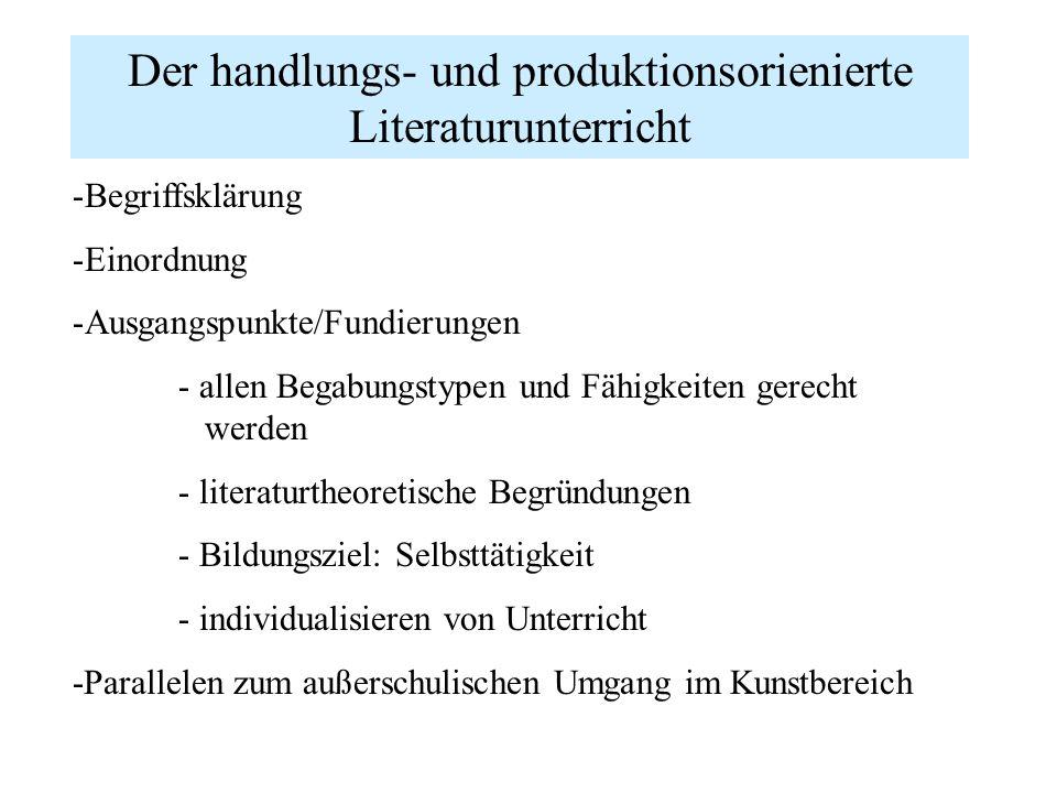 Der handlungs- und produktionsorienierte Literaturunterricht -Begriffsklärung -Einordnung -Ausgangspunkte/Fundierungen - allen Begabungstypen und Fähi