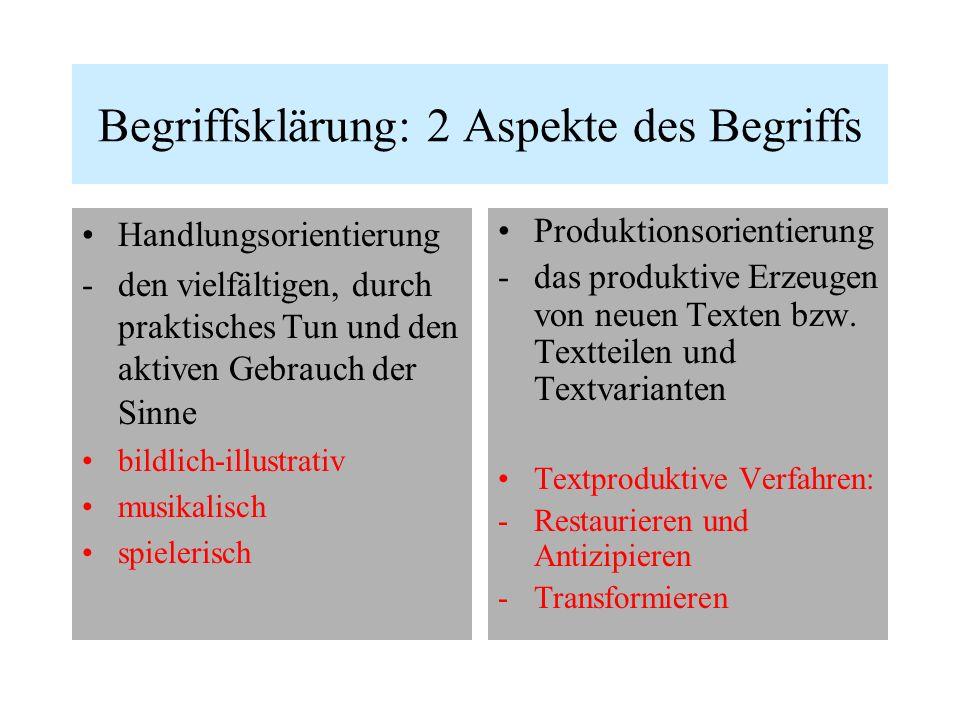 Begriffsklärung: 2 Aspekte des Begriffs Handlungsorientierung -den vielfältigen, durch praktisches Tun und den aktiven Gebrauch der Sinne bildlich-ill