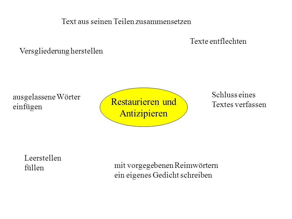 Restaurieren und Antizipieren Text aus seinen Teilen zusammensetzen Texte entflechten Versgliederung herstellen ausgelassene Wörter einfügen mit vorge