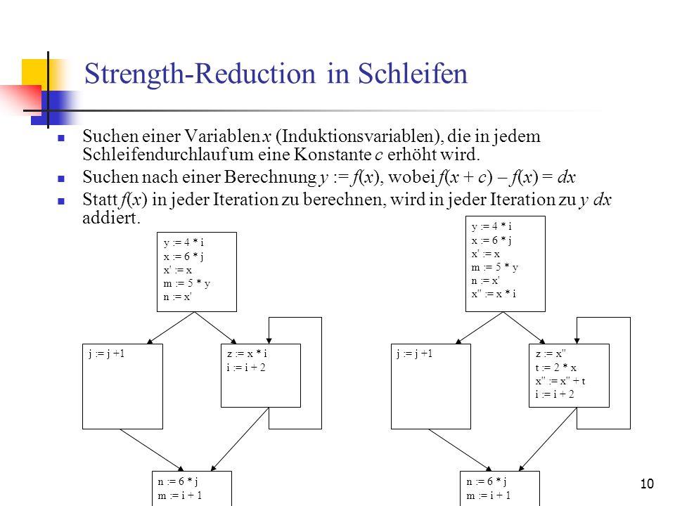 10 Strength-Reduction in Schleifen Suchen einer Variablen x (Induktionsvariablen), die in jedem Schleifendurchlauf um eine Konstante c erhöht wird. Su