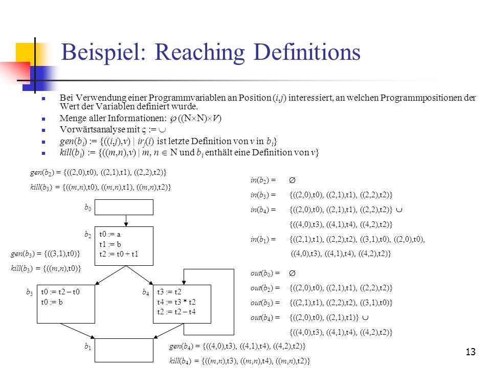 13 Beispiel: Reaching Definitions Bei Verwendung einer Programmvariablen an Position (i,j) interessiert, an welchen Programmpositionen der Wert der Va
