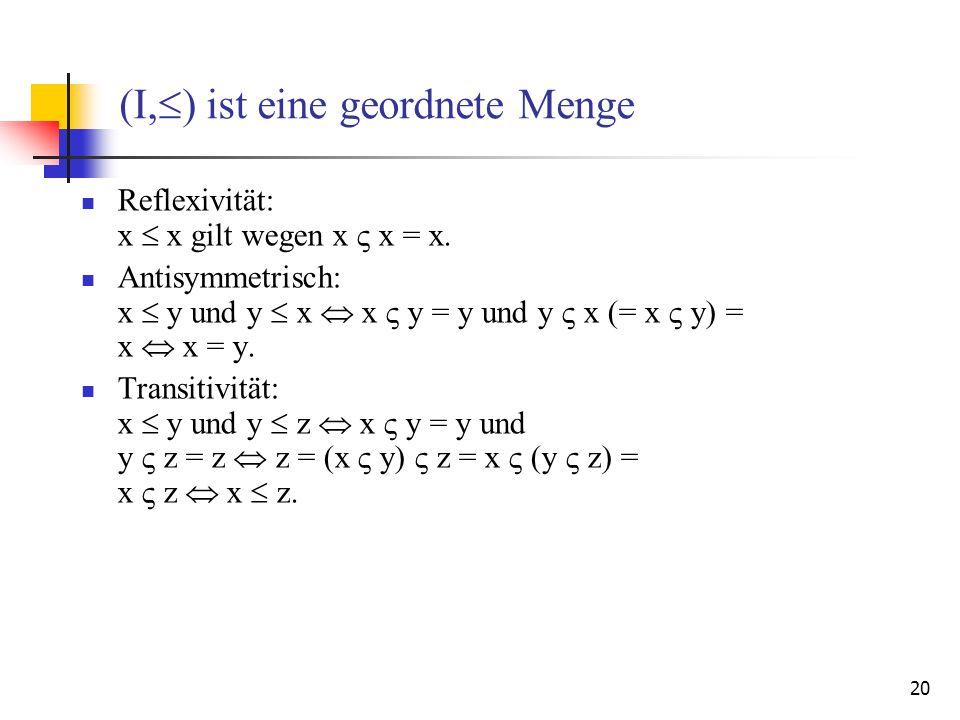20 (I, ) ist eine geordnete Menge Reflexivität: x x gilt wegen x x = x. Antisymmetrisch: x y und y x x y = y und y x (= x y) = x x = y. Transitivität: