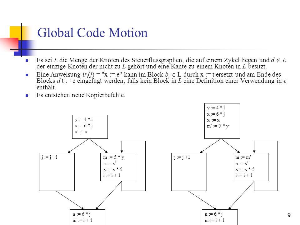 9 Global Code Motion Es sei L die Menge der Knoten des Steuerflussgraphen, die auf einem Zykel liegen und d L der einzige Knoten der nicht zu L gehört