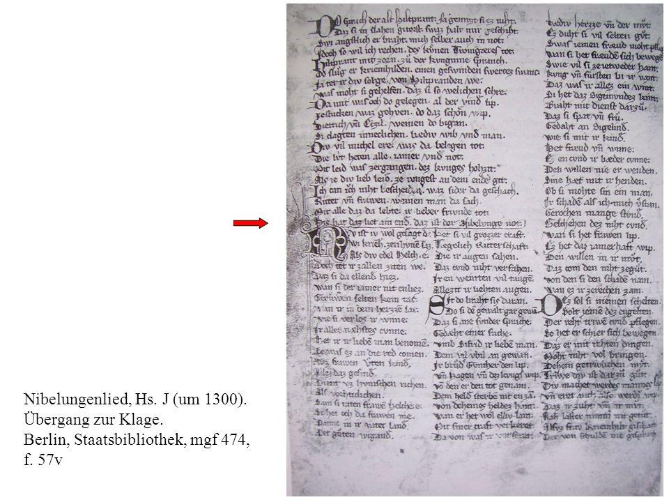 10 Nibelungenlied, Hs. J (um 1300). Übergang zur Klage. Berlin, Staatsbibliothek, mgf 474, f. 57v