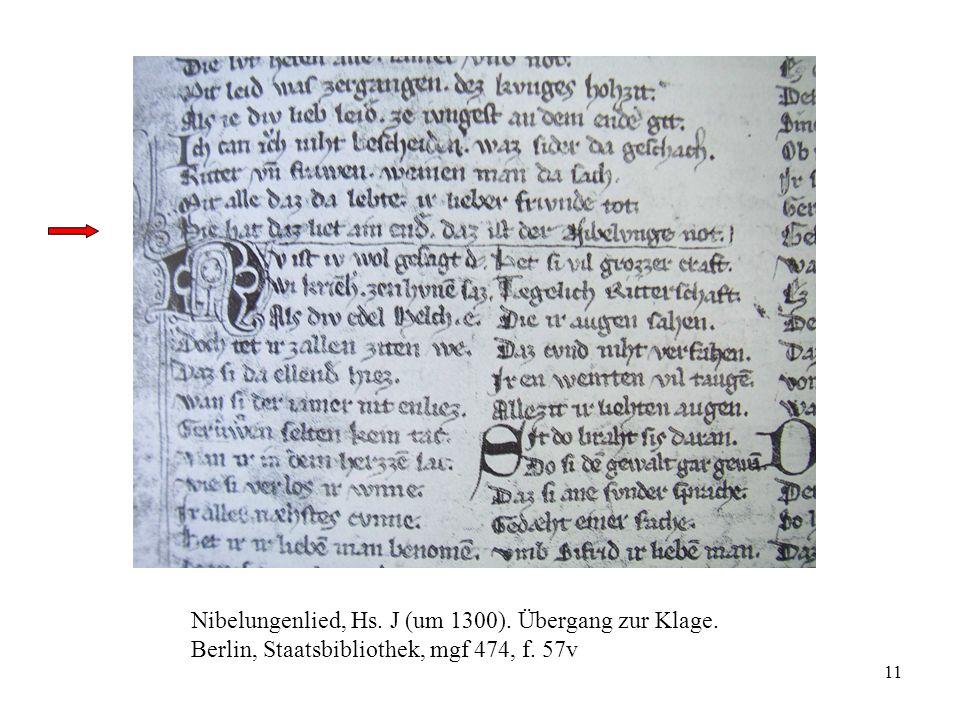 11 Nibelungenlied, Hs. J (um 1300). Übergang zur Klage. Berlin, Staatsbibliothek, mgf 474, f. 57v