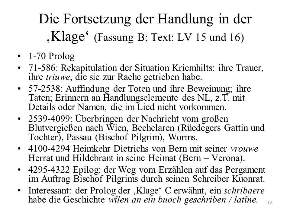 12 Die Fortsetzung der Handlung in der Klage (Fassung B; Text: LV 15 und 16) 1-70 Prolog 71-586: Rekapitulation der Situation Kriemhilts: ihre Trauer,
