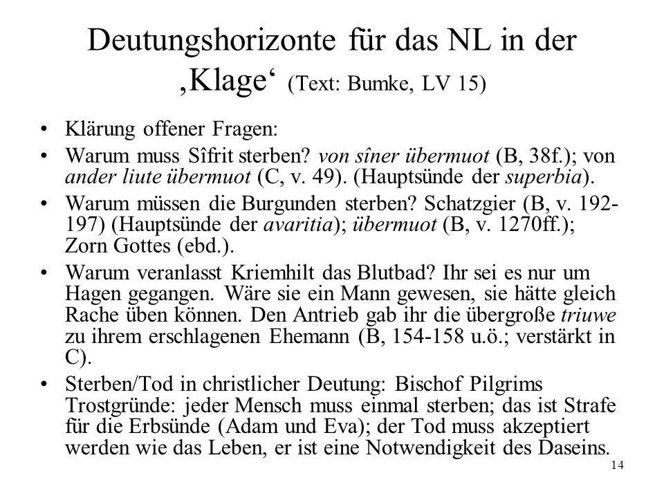 14 Deutungshorizonte für das NL in der Klage (Text: Bumke, LV 15) Klärung offener Fragen: Warum muss Sîfrit sterben? von sîner übermuot (B, 38f.); von