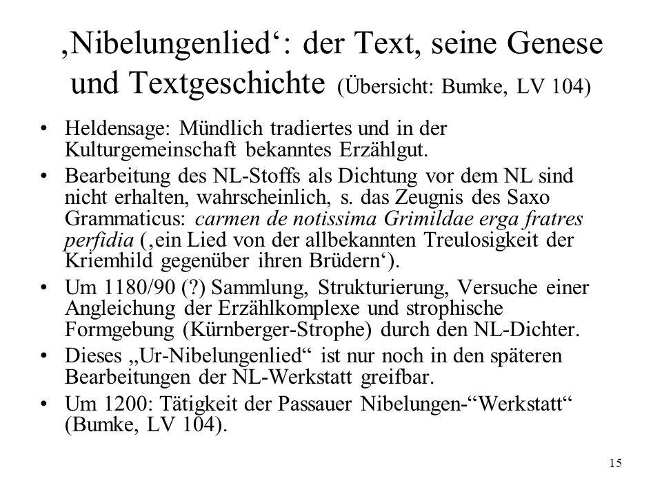 15 Nibelungenlied: der Text, seine Genese und Textgeschichte (Übersicht: Bumke, LV 104) Heldensage: Mündlich tradiertes und in der Kulturgemeinschaft