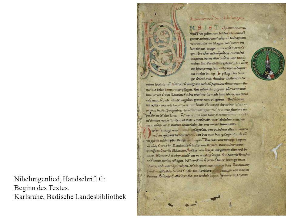 3 Nibelungenlied, Handschrift C: Beginn des Textes. Karlsruhe, Badische Landesbibliothek