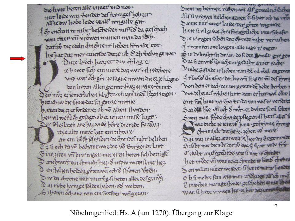 7 Nibelungenlied: Hs. A (um 1270): Übergang zur Klage