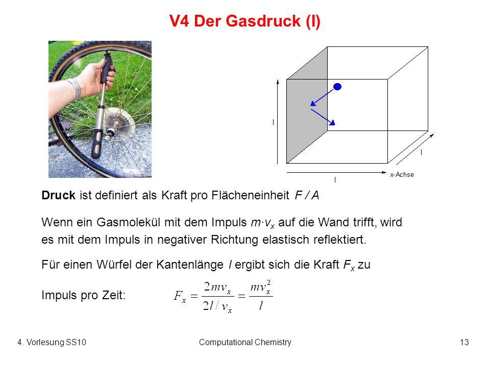 4. Vorlesung SS10Computational Chemistry13 V4 Der Gasdruck (I) Wenn ein Gasmolekül mit dem Impuls mv x auf die Wand trifft, wird es mit dem Impuls in