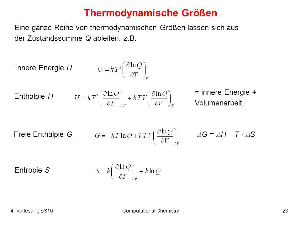 4. Vorlesung SS10Computational Chemistry23 Eine ganze Reihe von thermodynamischen Größen lassen sich aus der Zustandssumme Q ableiten, z.B. Thermodyna