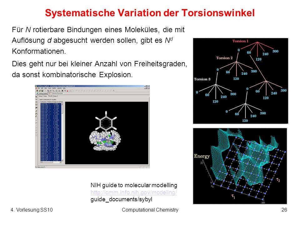 4. Vorlesung SS10Computational Chemistry26 Systematische Variation der Torsionswinkel Für N rotierbare Bindungen eines Moleküles, die mit Auflösung d