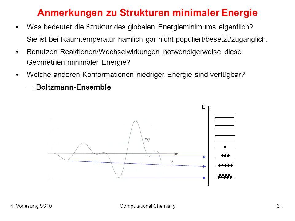4. Vorlesung SS10Computational Chemistry31 Anmerkungen zu Strukturen minimaler Energie Was bedeutet die Struktur des globalen Energieminimums eigentli